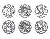 Oosterse watergolf in rond vormpictogram japans thais stock illustratie