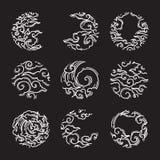 Oosterse wolk in het ronde pictogram van het vormkader japans thais stock illustratie