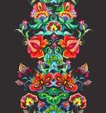 Oosteuropees bloemenkader - naadloze grens met hand bewerkte bloemen watercolor vector illustratie