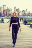 Oosteuropese Vrouw die in New York reizen royalty-vrije stock afbeelding