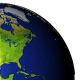 Oostkust van Noord-Amerika op model van Aarde met in reliëf gemaakt land Royalty-vrije Stock Foto's