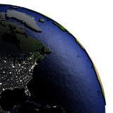 Oostkust van Noord-Amerika op model van Aarde met in reliëf gemaakt land Stock Foto's