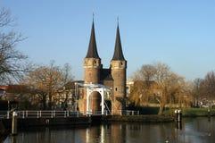 Oostpoort in Delft in wintertime. Royalty Free Stock Photo