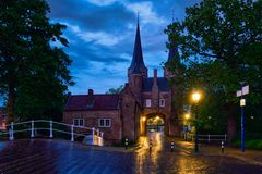 Oostport Eastern Gate of Delft at night. Delft, Netherlands. Oostport Eastern Gate of Delft illuminated at night. Delft, Netherlands Stock Photos