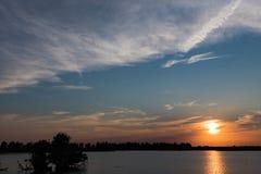 Oostvaardersplassen dal tramonto 2 Fotografia Stock Libera da Diritti
