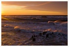 Oostzee, zonsondergang Royalty-vrije Stock Afbeeldingen