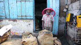 OOTY, INDIA - MARCH 2013: Portrait of local market vendor Stock Photos