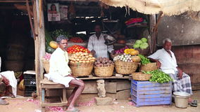 OOTY, INDIA - MARCH 2013: Portrait of local market vendors stock video footage