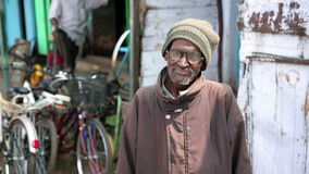 OOTY, INDIA - MARCH 2013: Portrait of senior local man stock video footage