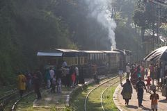 OOTY, TAMIL NADU, INDIA, 22 March 2015 : Nilgiri mountain railway. Blue train. Unesco heritage. Narrow-gauge. Steam locomotive in Royalty Free Stock Image