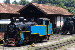 OOTY, TAMIL NADU, INDIA, 22 March 2015 : Nilgiri mountain railway. Blue train. Unesco heritage. Narrow-gauge. Steam Royalty Free Stock Image