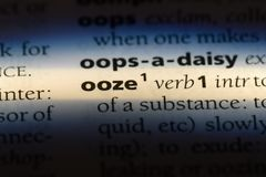 Ooze. Word in a dictionary.  concept stock image