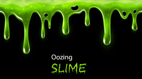 Oozing slime. Dripping green slime seamlessly repeatable, individual drops removable