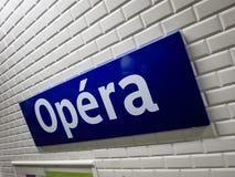 Opéra-Metrozeichen Paris Lizenzfreies Stockbild