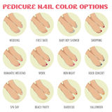 Opções da cor do prego do pedicure Imagem de Stock