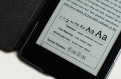 Opções da tela do E-leitor Imagens de Stock
