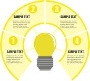 Opções de Infographics com ampola, vetor do projeto e ícones do negócio com 4 opções Vetor do projeto de Infographics e mercado C ilustração stock