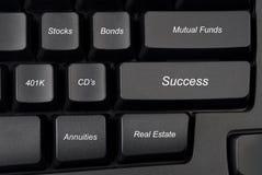 Opções do investimento do teclado de computador Foto de Stock