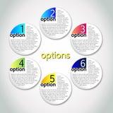Opções do progresso do vetor/uma - seis Imagens de Stock