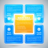 4 opções lustrosas azuis, arranjadas em um quadrado em torno da ideia principal Imagens de Stock