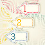 Opções retros com setas pontilhadas - uns, dois, três Imagens de Stock