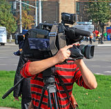 Opérateur avec l'appareil-photo Photos stock