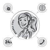 Opérateur dans l'écouteur illustration stock