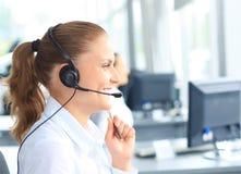 Opérateur de centre d'attention téléphonique Photo stock