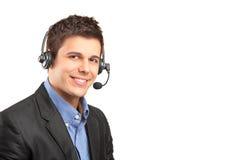 Opérateur de service à la clientèle utilisant un écouteur photo libre de droits