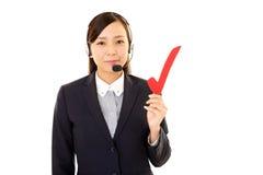 Opérateur de sourire de centre d'attention téléphonique Photographie stock