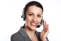 Opérateur de support à la clientèle Visage de femme Operat de sourire de centre d'appels Photographie stock
