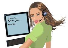 Opérateur de téléphone d'isolement sur le blanc Photo libre de droits