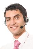 Opérateur de téléphone de support dans l'écouteur photo libre de droits