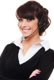Opérateur de téléphone souriant au-dessus du fond blanc Images stock