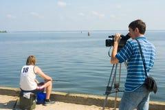 Opérateur et pêcheur Photographie stock libre de droits