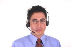 Opérateur-mâle de centre d'attention téléphonique Photos libres de droits