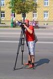 Opérateur sur la ville à la rue Image libre de droits