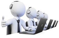 opérateurs 3D travaillant à un centre d'attention téléphonique Images libres de droits