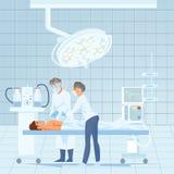 Opération de chirurgie de cardiologie dans le vecteur d'hôpital illustration de vecteur