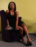 Opération de femme d'Afro-américain en fonction Photographie stock