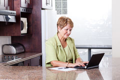 Opérations bancaires aînées d'Internet de femme Image libre de droits