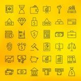 Opérations bancaires de banque et branche d'activité de finances grandes icônes réglées Images stock