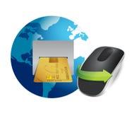Opérations bancaires internationales et souris sans fil d'ordinateur Photo stock