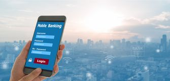 Opérations bancaires mobiles image stock