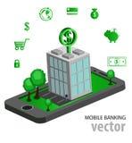 Opérations bancaires mobiles isométriques plates Photos libres de droits