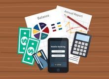 Opérations bancaires mobiles, paiements en ligne Images libres de droits