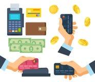 Opérations bancaires, terminal de paiement, finances, devises monétaires, pièces d'or, carte de banque illustration de vecteur