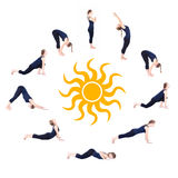 Opérations de salutation namaskar du soleil de surya de yoga Photo stock