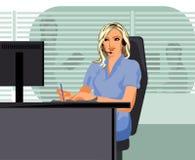 Opératrice de fille au centre d'appels Image stock
