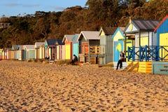 Opóźniony zimy popołudnie przy młyn plażą w Mornington, Mornington półwysep, Melbourne, Wiktoria, Australia obraz stock
